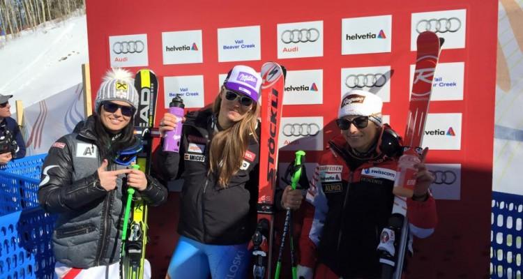 Podium DH kobiet MŚ Beaver Creek (fot. FIS Alpine World Cup Tour)