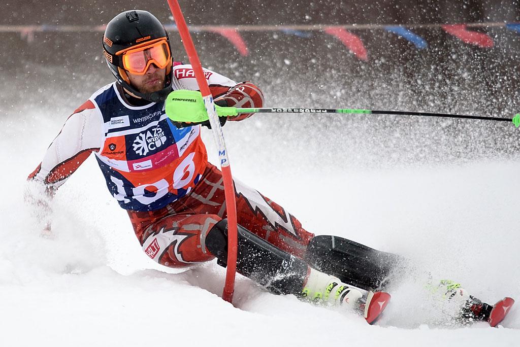 Mateusz Habrat został autorem najlepszego czasu pierwszego przejazdu slalomu