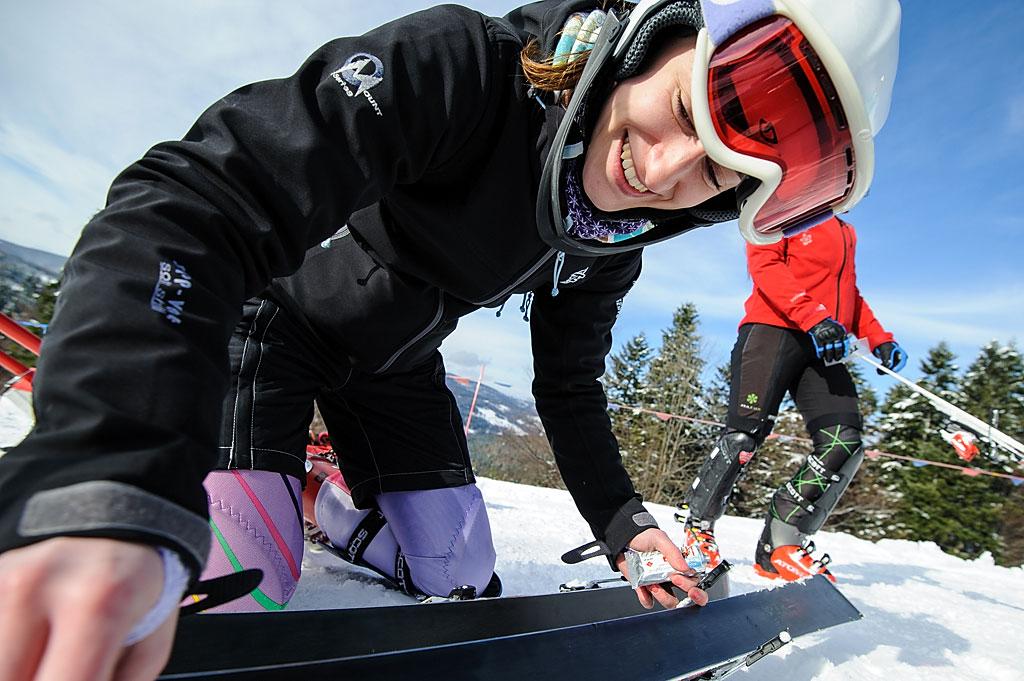 Smarowanie nart było bardzo istotne - połowa slalomu rozgrywała się napłaskim fragmencie stoku