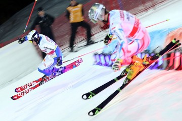 STOCKHOLM,SWEDEN,23.FEB.16 - ALPINE SKIING - FIS World Cup, City Event, parallel slalom, men. Image shows Mattias Hargin (SWE) and Julien Lizeroux (FRA). Photo: GEPA pictures/ Harald Steiner
