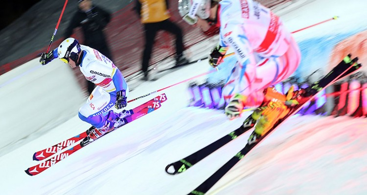 STOCKHOLM,SWEDEN,23.FEB.16 - ALPINE SKIING - FIS World Cup, City Event, parallel slalom, men. Image shows Mattias Hargin (SWE) and Julien Lizeroux (FRA). Photo: GEPA pictures/ Harald Steiner