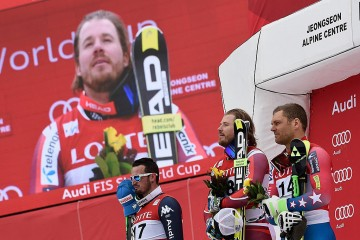 JEONGSEON, SOUTH KOREA Ð FEBRUARY 06: Kjetil Jansrud of Norway takes 1st place during the Audi FIS Alpine Ski World Cup MenÕs Downhill on February 06, 2016 in Jeongseon, South Korea. (Photo by Alain Grosclaude/Agence Zoom)