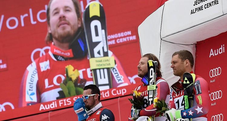 JEONGSEON, SOUTH KOREA Ð FEBRUARY 06: Kjetil Jansrud of Norway takes 1st place during the Audi FIS Alpine Ski World Cup MenÕs Downhill on February 06, 2016 in Jeongseon, South Korea. (Photo by Alain Grosclaude/Agence Zoom)