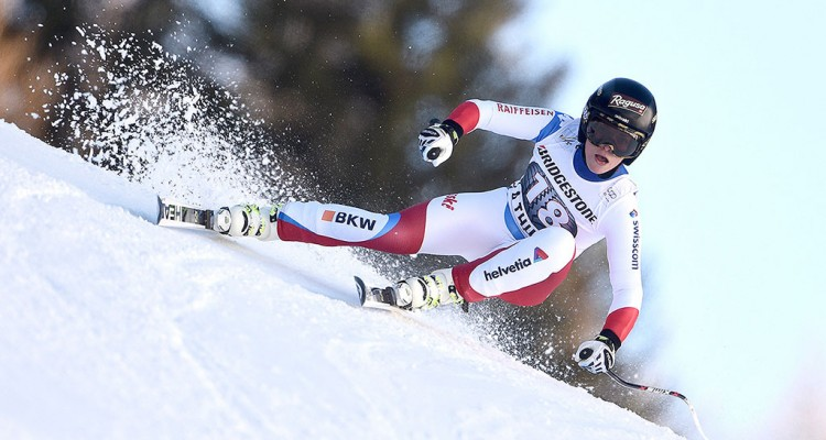 LA THUILE, ITALY - FEBRUARY 21: Lara Gut of Switzerland in action during the Audi FIS Alpine Ski World Cup WomenÕs Super-G on February 21, 2016 in La Thuile, Italy. (Photo by Alain Grosclaude/Agence Zoom)