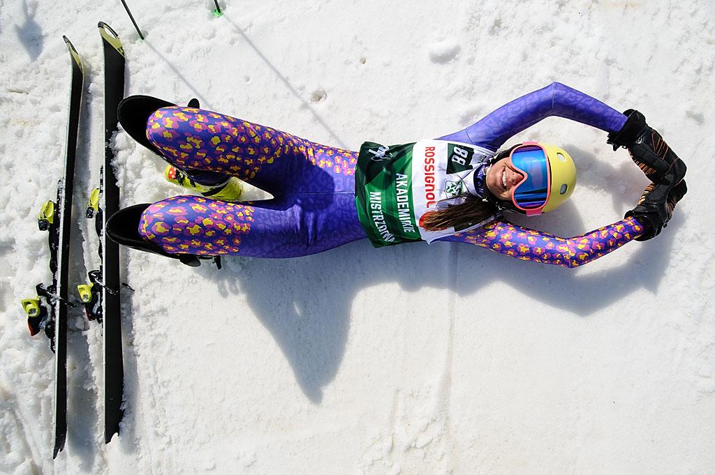 Anna Berezik ćwiczy wogródku startowym przeddrugim przejazdem slalomu.
