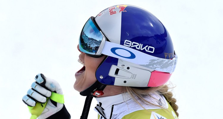 SOLDEU, ANDORRA - FEBRUARY 28: Lindsey Vonn of USA competes during the Audi FIS Alpine Ski World Cup WomenÕs Super Combined on February 28, 2016 in Soldeu, Andorra. (Photo by Alexis Boichard/Agence Zoom)