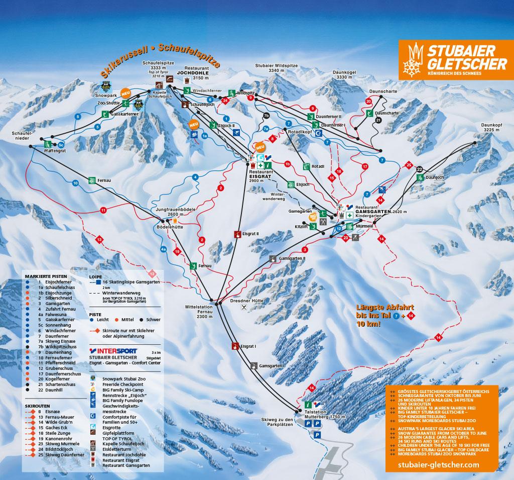 Mapa ośrodka narciarskiego wStubai